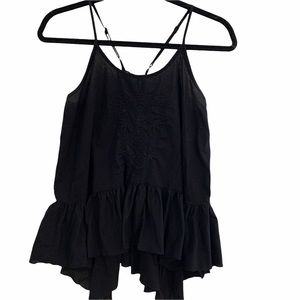 BP Black Cami with Lace up Back